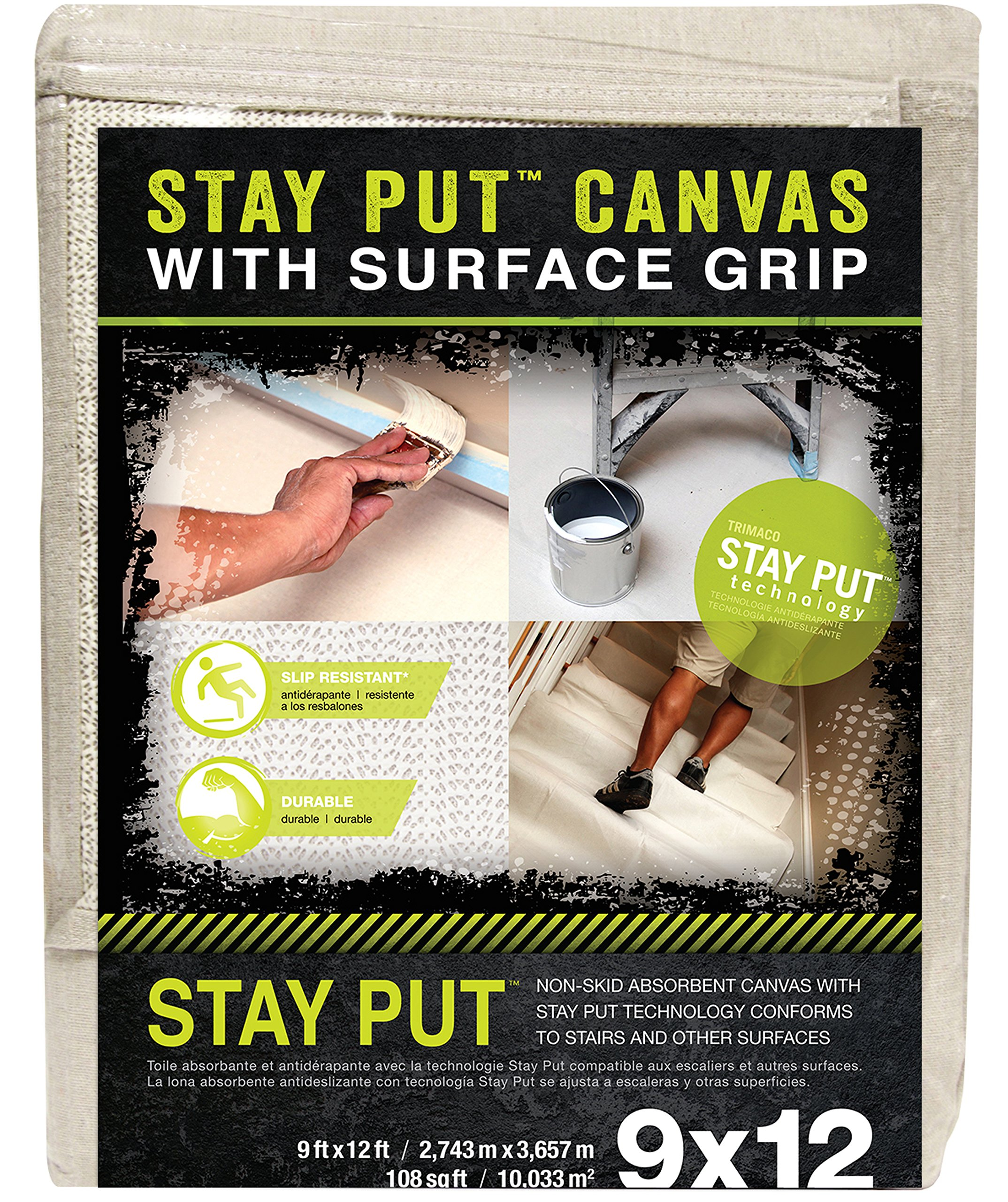 Stay Put 04311 Canvas Drop Cloth with Slip Resistant Surface Grip, 9' x 12'