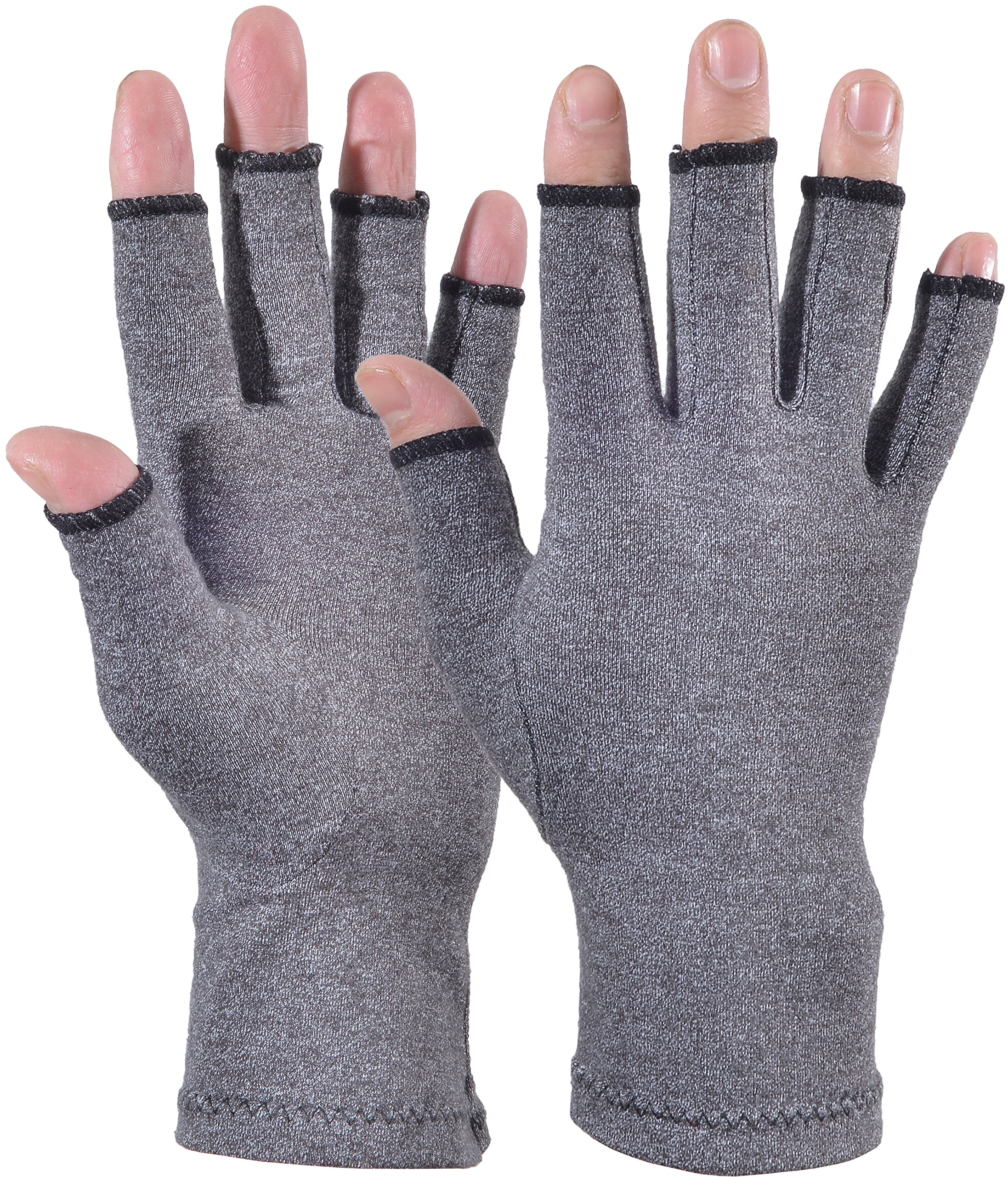Yuhan Pretty Arthritis Gloves - Compression Fingerlss Gloves Relief Joint Pain Symptom of Rheumatoid & Osteoarthritis, Open Gloves for Daily Work and Typing - Men & Women (Gray, L)