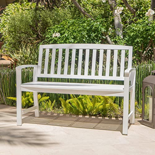 Laguna Outdoor Patio Acacia Wood Bench White