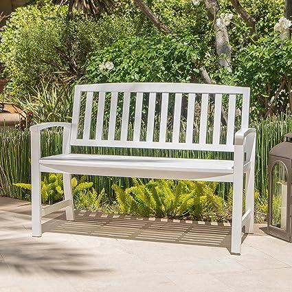 Amazon Com Laguna Outdoor Patio Acacia Wood Bench White Garden