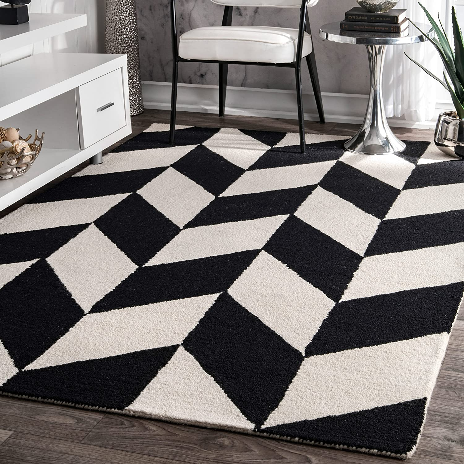Nuloom Katte Hand Tufted Wool Area Rug 5 X 8 Black And White Home Kitchen Amazon Com