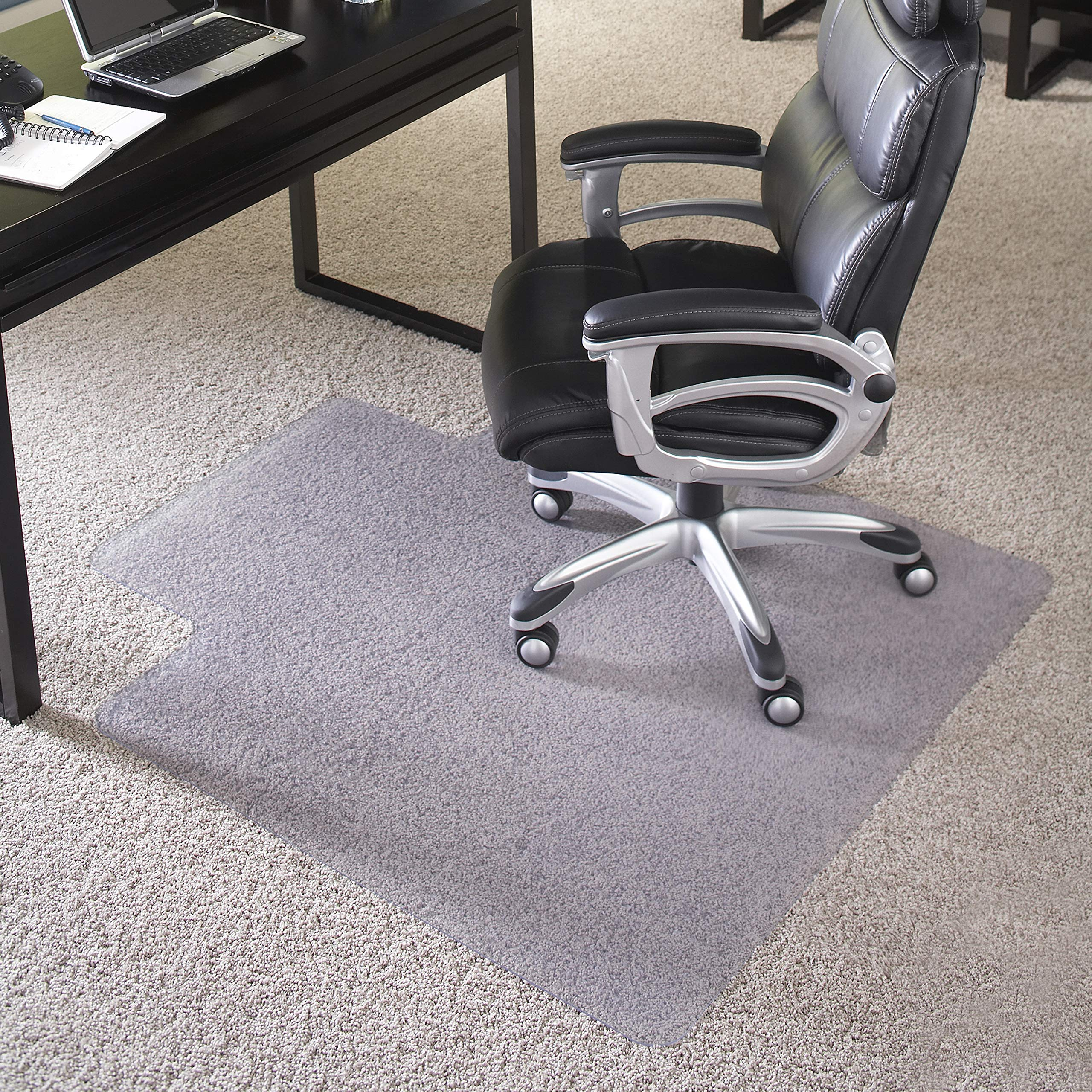 Flash Furniture 45'' x 53'' Big & Tall 400 lb. Capacity Carpet Chair Mat with Lip by Flash Furniture