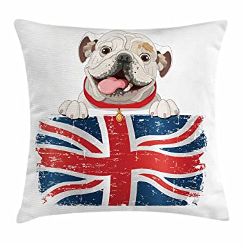 English Bulldog Throw Pillow Cushion Cover By Ambesonne, Happy Pet Bulldog  Holding A Union Jack