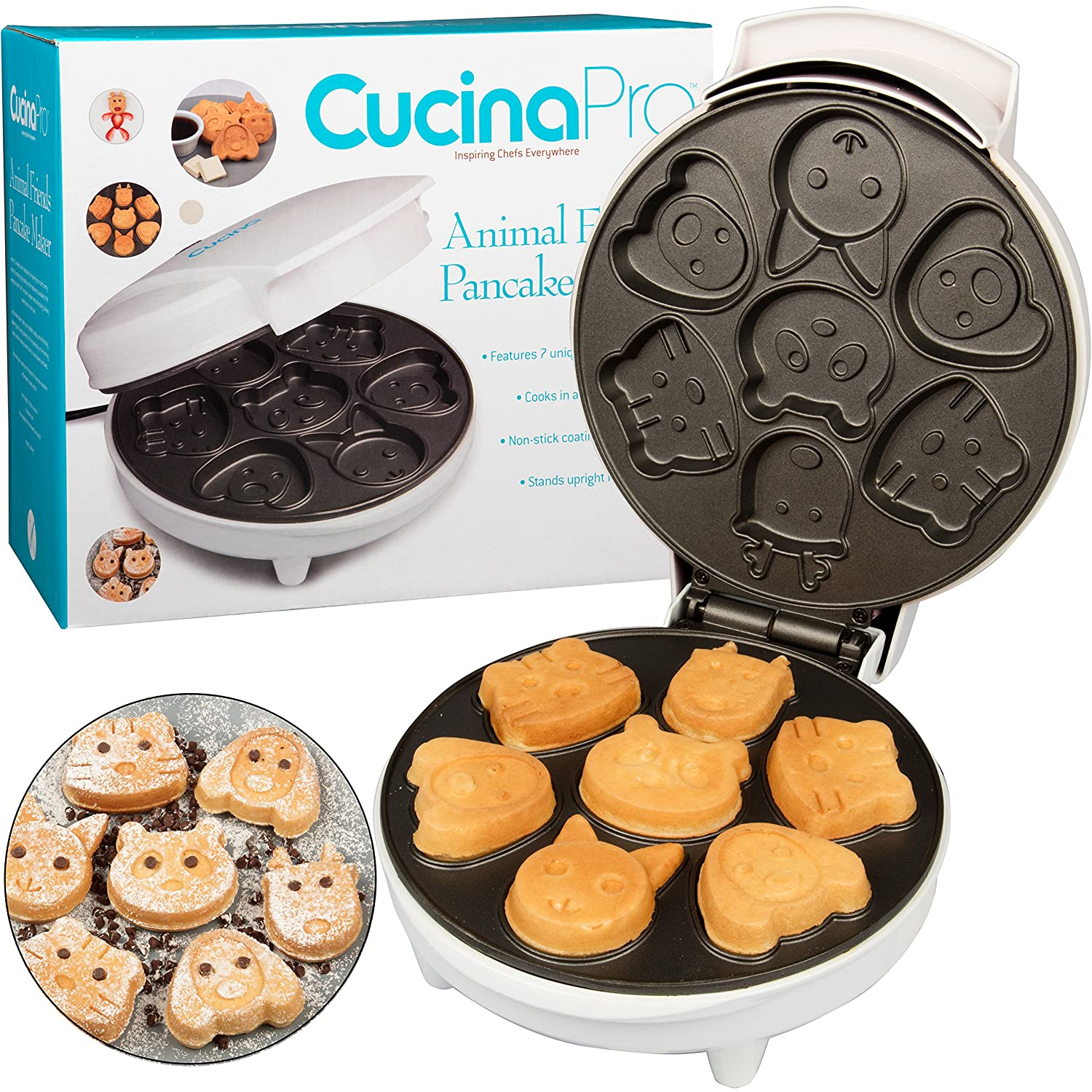 CucinaPro Animal Mini Waffle Maker- Makes 7 Fun, Different Shaped Pancakes - Electric Non-Stick Waffler