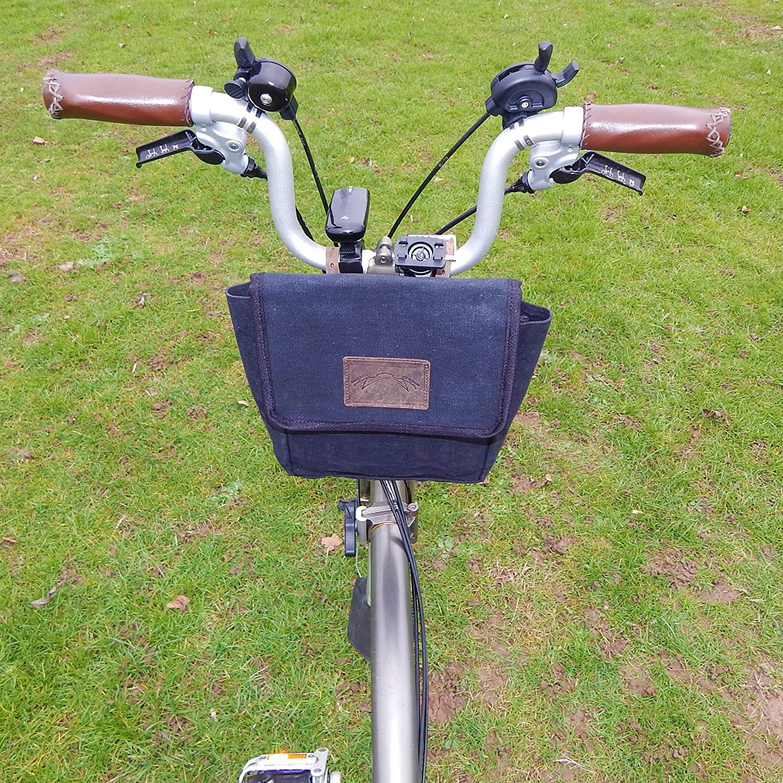 Negro bolsa de lona + de piel sillín/manillar tamaño grande para Brompton Bicicleta: Amazon.es: Deportes y aire libre