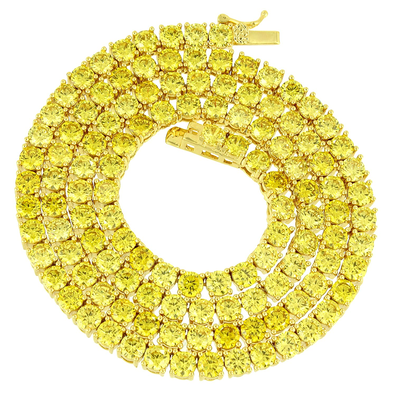 4 MM Tennis Necklace Canary Lab Diamonds Solitaire Round Cut Chain 20 Inches New