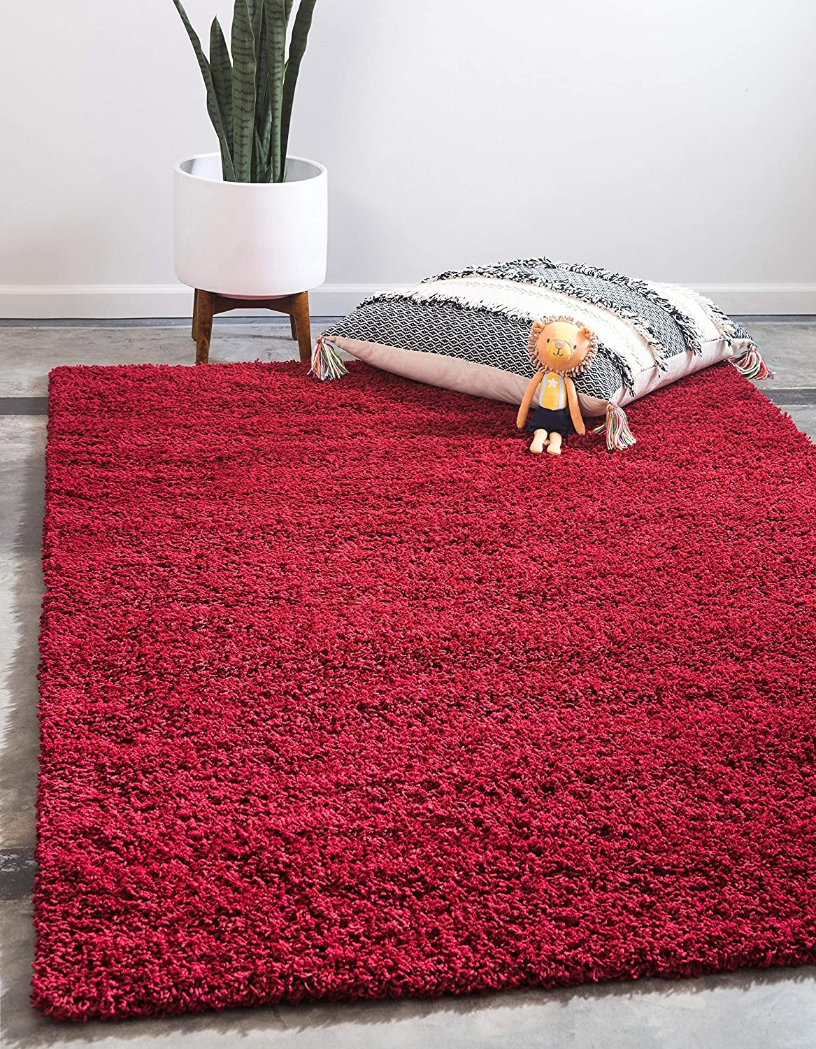 Unique Loom Solo Solid Shag Collection Modern Plush Cherry Red Rectangle (2' x 3') 3127963
