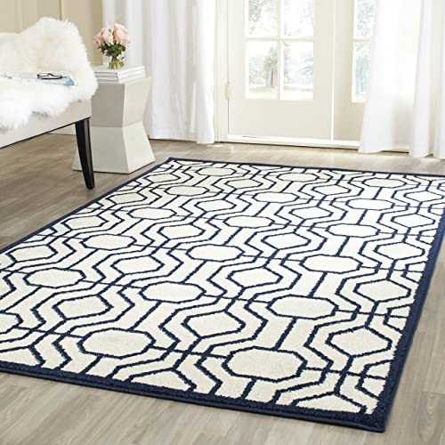 Safavieh Amherst Collection AMT416M Geometric Area Rug, 8 x 10 , Ivory Navy
