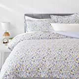AmazonBasics Microfiber 3-Piece Quilt/Duvet/Comforter Cover Set - Queen, Blue Floral - with 2 pillow covers