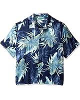 Cubavera Men's Windowpane Camp Tropical Print Woven Shirt