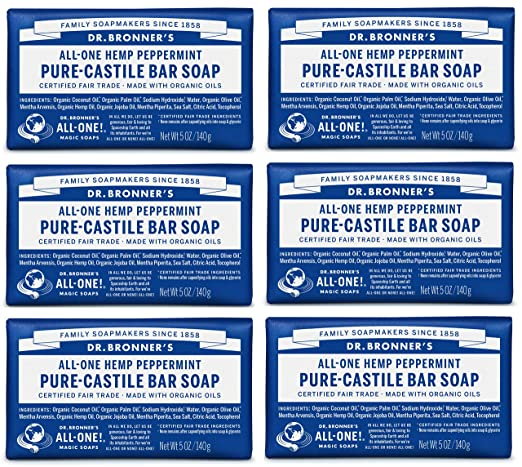 Dr. Bronner's Pure-Castile Soap, Peppermint, 5-Ounce Bars (Pack of 6)
