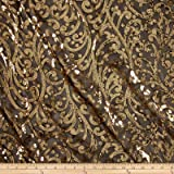 Starlight Sequined Mesh Andora Gold/Black Fabric By The Yard