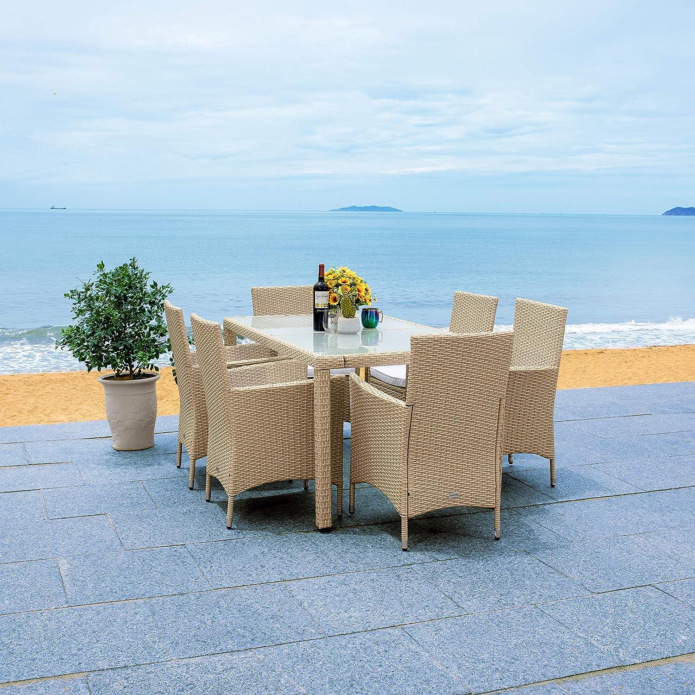 Safavieh Outdoor Collection Jolin Wicker Cushion 7-Piece Dining Set PAT7706B-3BX, Beige/White