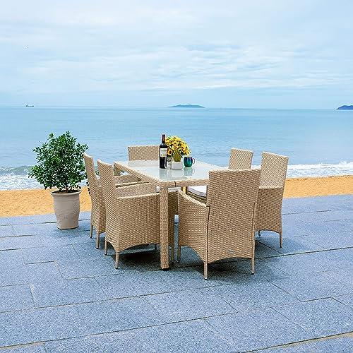 Safavieh Outdoor Collection Jolin Wicker Cushion 7-Piece Dining Set PAT7706B-3BX