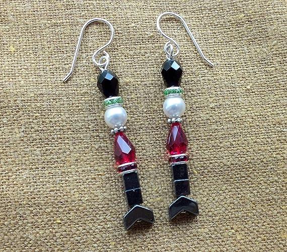 b9321aa08 Amazon.com: Nutcracker Toy Soldier Swarovski Crystal Earrings: Handmade