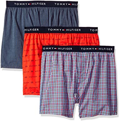 be6ae10fed90 TOMMY HILFIGER Men's Cotton Classics 3 Pack Slim Fit Woven Boxer, Empire  Blue, Medium