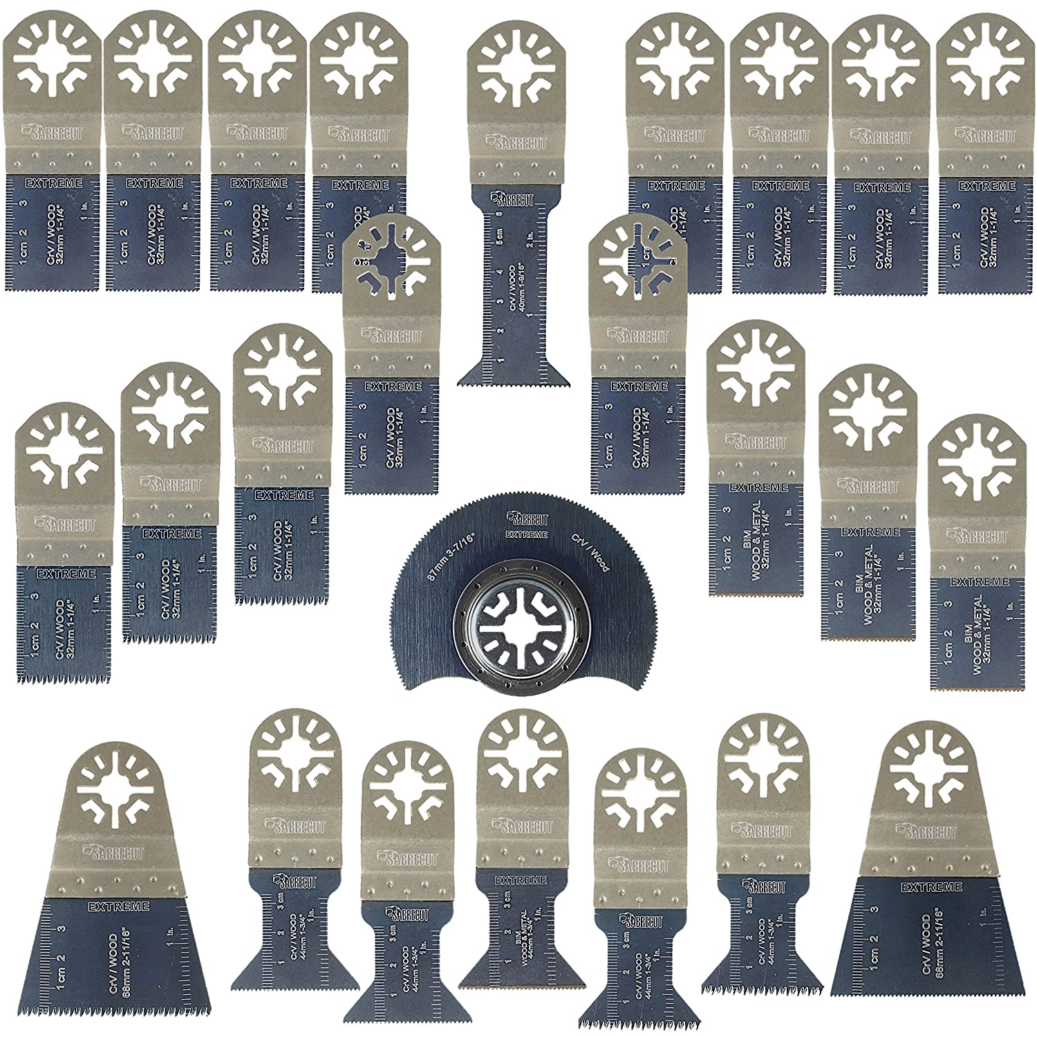 25 x SabreCut PRK25A Premium OMT Mix Blades Set for Bosch Fein MultiMaster Makita Milwaukee Genesis Chicago Craftsmen Nextec Rockwell Ryobi Hitachi Multi Tool Accessories