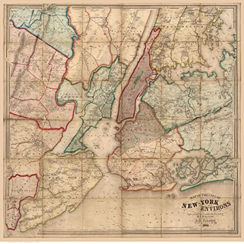 Map Of Old New York.Amazon Com New York City Environs 1860 Ny Wall Map With