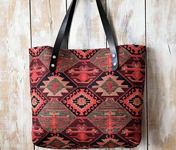 Ethnic Carpet Fabric Shoulder Tote Bag with Black Genuine Leather Strap, Black and Red Bohemian Carpet Tote Bag