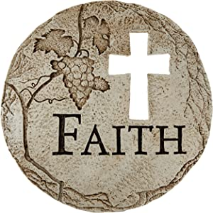 Roman Religious Cross Cut-Out Faith Decorative Garden Patio Stepping Stone, 12-Inch
