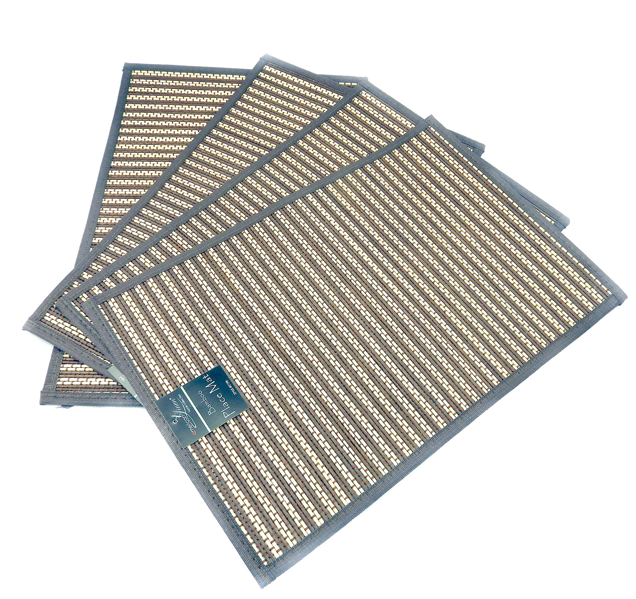 Dependable Set of 4 Environmental Friendly Bamboo Placemats (Choice of Color) (Woodgrain)