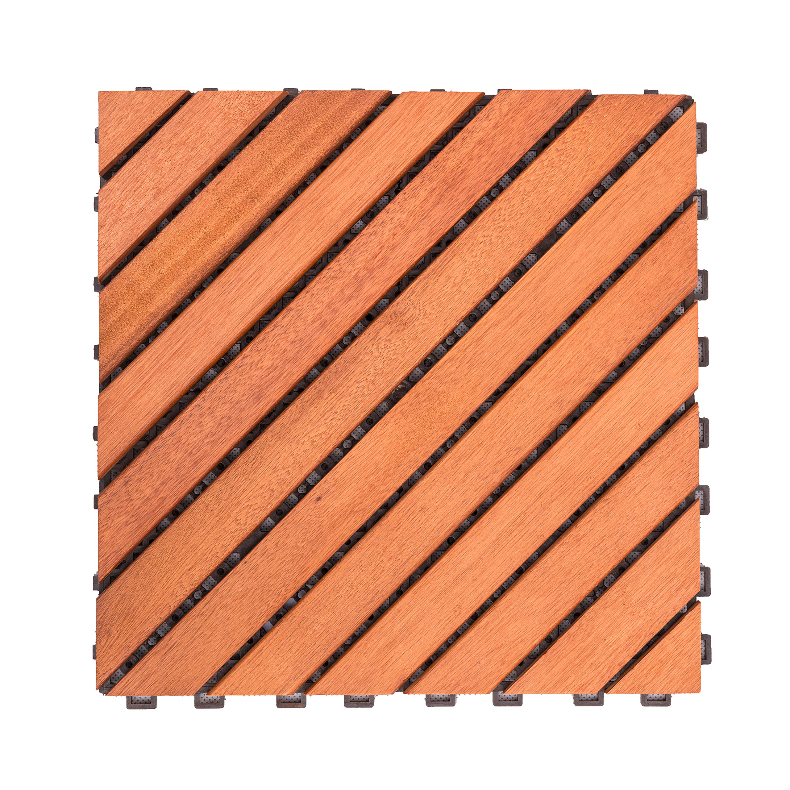 Vifah V182 Interlocking FSC Eucalyptus Deck Tile 12-Slat Diagonal Design, 10-Pack, Natural Wood Finish, 11 by 11 by 1-Inch by Vifah
