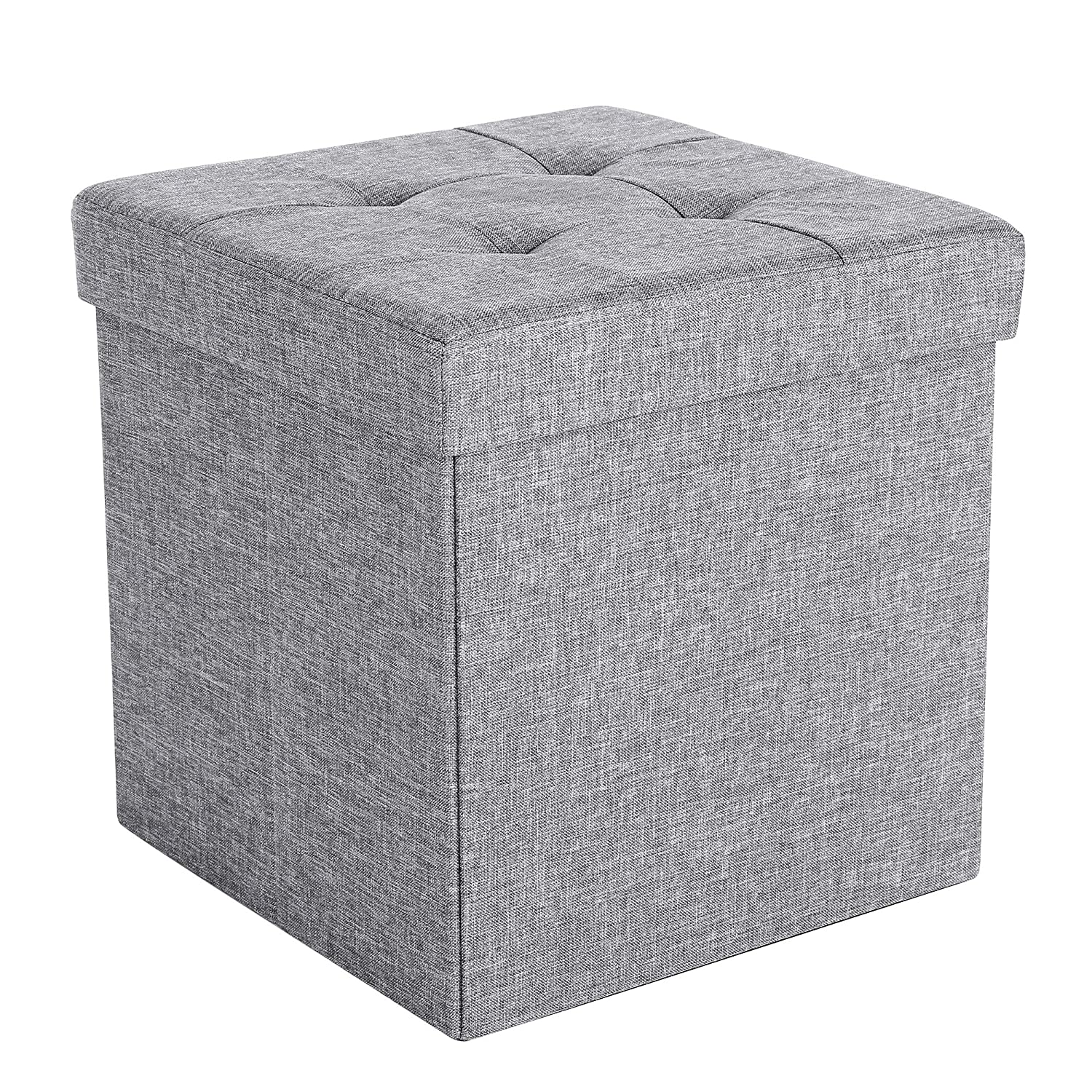 Songmics Fire Safety Folding Storage Ottoman Picnic Seat Versatile Space Saving Cubes Box Max Load 300 Kg Linenette Light Gray 38 X 38 X 38 Cm Lsf82 Gyx by Amazon