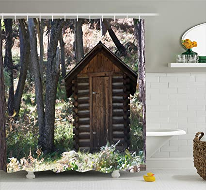Ambesonne Outhouse Shower Curtain Wooden Primitive Life Barn Shed In Spring Forest Leaves Lumberjack Photo