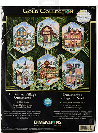 6 COLORFUL PLAYFUL SNOWMAN ORNAMENTS COUNTED CROSS STITCH KIT by DIMENSIONS