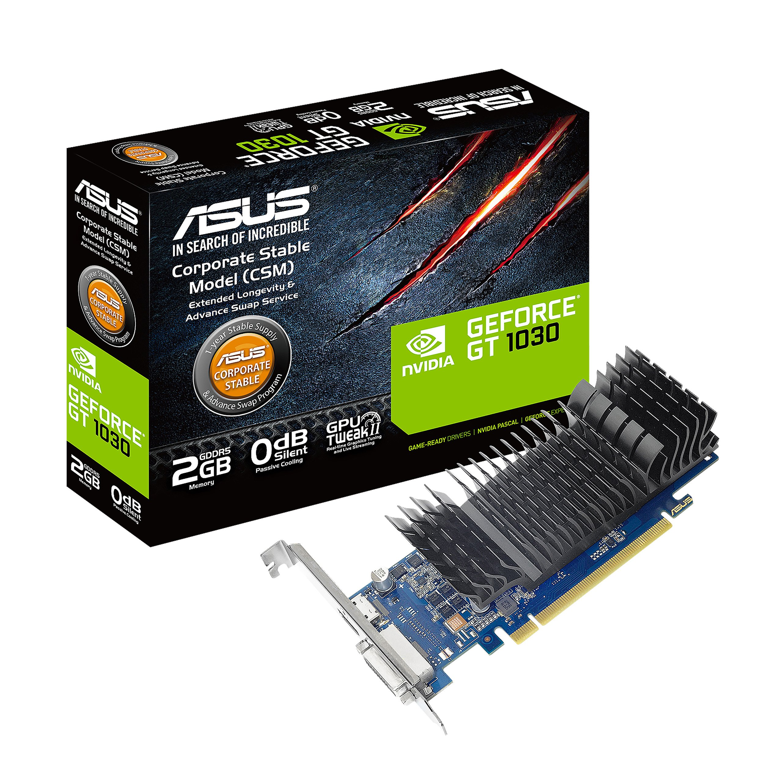 ASUS GeForce GT 1030 2GB GDDR5 HDMI DVI Graphics Card (GT1030-2G-CSM) by Asus