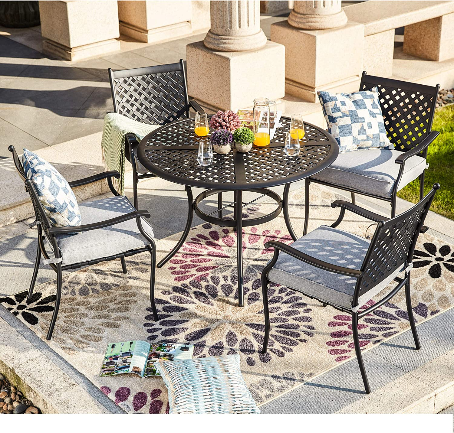 LOKATSE HOME 5 Piece Outdoor Patio Metal Dining Set with 4 Iron Arm Chairs with Seat Cushions and 1 Table with Umbrella Hole, Grey
