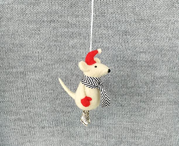 Amazon Com Felted Mouse Christmas Ornament Needle Felted White