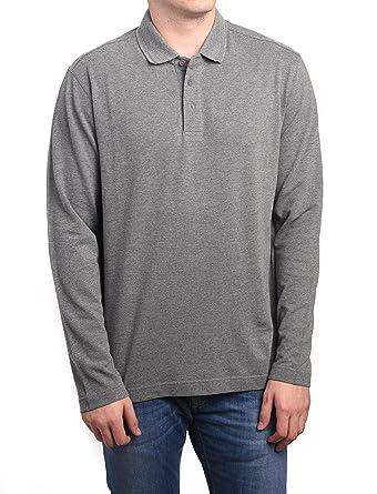 6977c252a2d67 Z Zegna Men Long Sleeve Pique Cotton Polo Shirt Grey: Ermenegildo ...