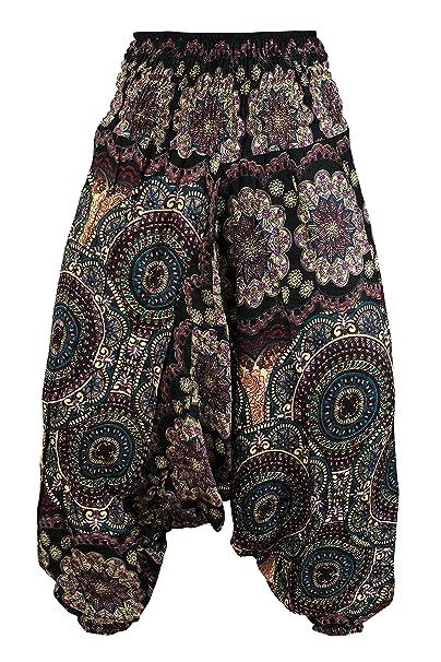 5d544a73fb Aladdin Genie Hippy Boho Harem Yoga Gipsy Festival Baggy 2in1 Trouser  Jumpsuit Onesie (Bohemian -