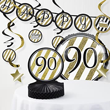 Black And Gold 90th Birthday Decorations Kit