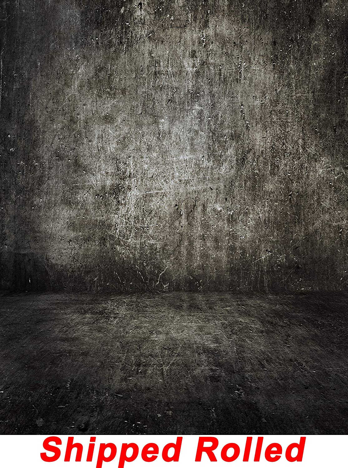 Grunge Grey Concrete Wall Backdrop Rustic Weathered Stained Vintage Retro Old Dark Aged Gray Cement Wall Floor Printed Canvas Photography Background (G0502, 8' Wide by 10' Tall)