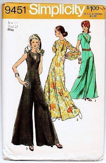 Amazon Simplicity 9451 Misses Jumpsuit Sewing Patterns Vintage