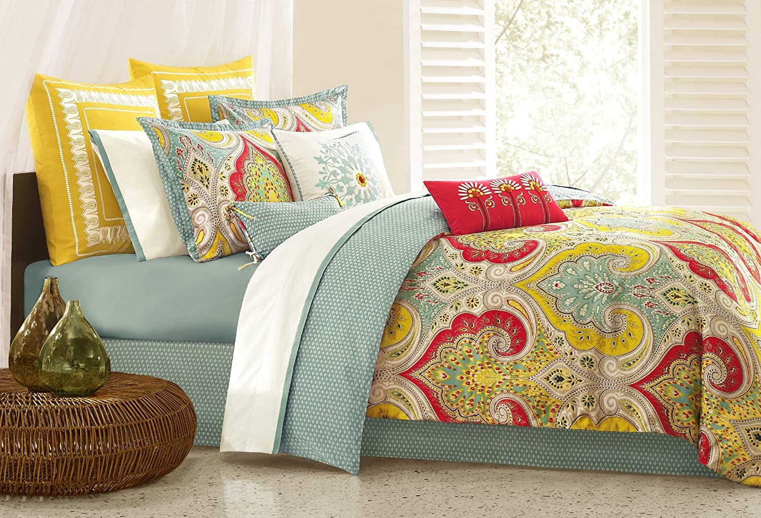 Roll over image to zoom in Echo Jaipur Cal King Comforter Set
