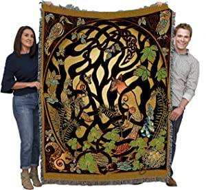 Pure Country Weavers Woodland Fox and Forest Animals - Jen Delyth - Blanket Throw Woven from Cotton - Made in The USA (72x54)