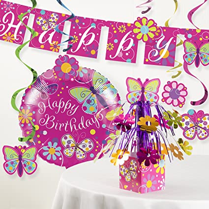 Image Unavailable Not Available For Color Creative Converting Butterfly Birthday Party Decorations Kit