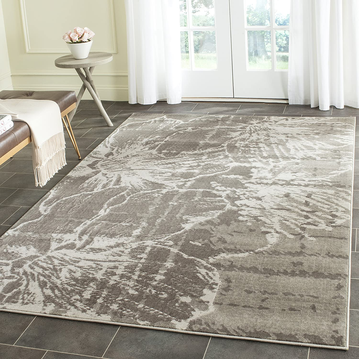 Amazon Com Safavieh Porcello Collection Prl7732a Floral Non Shedding Stain Resistant Living Room Bedroom Area Rug 6 7 X Square Grey Dark Furniture Decor