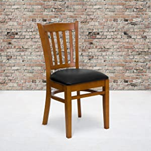 Flash Furniture 2 Pk. HERCULES Series Vertical Slat Back Cherry Wood Restaurant Chair - Black Vinyl Seat