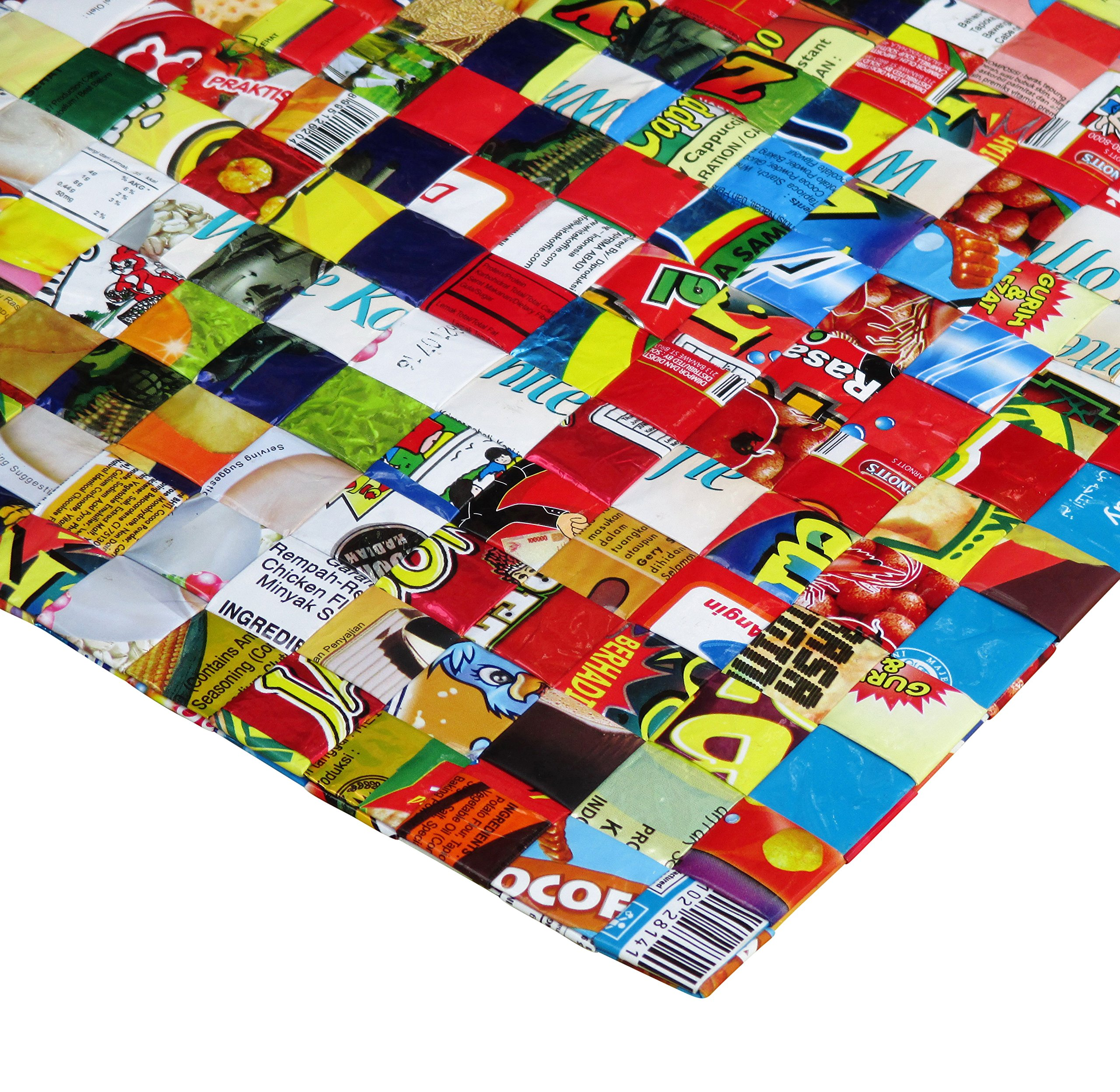 Set of 5 large placemats made from candy wrappers - Free shipping, decoration interior design sweets wrapper Fair trade ethical fun present presents cute finds inspiring alternative ideas functional