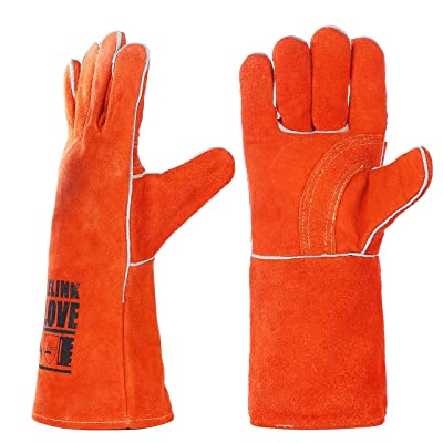 QeeLink Welding Gloves - Heat Resistant & Wear Resistant Lined Leather and Fireproof Stitching - For Tig/Mig Welders/Fireplace/BBQ/Gardening/Grilling/Stove (14-inch, Orange)