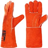 QeeLink Cotton Lined and Kevlar Stitching Leather Welding Gloves, 14-Inch, Orange
