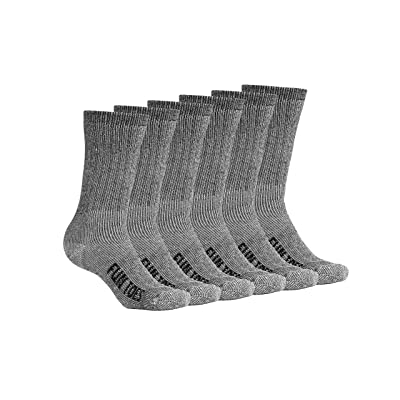 FUN TOES Women Thermal Merino Wool Socks 6 Pairs Mid Weight Reinforced Size 9-11