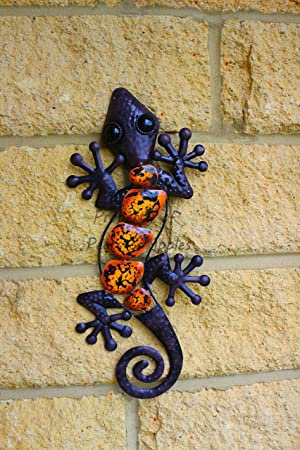 Metal Decorative Wall Art Garden Ornament Hanging Lizard (Brown ...