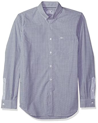 814bac80306871 Lacoste Men s Long Sleeve with Pocket Poplin Mini Check Regular Fit Woven  Shirt