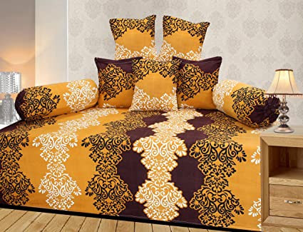 Homefab India 8 Piece 140 TC Polycotton Diwan Set - Brown
