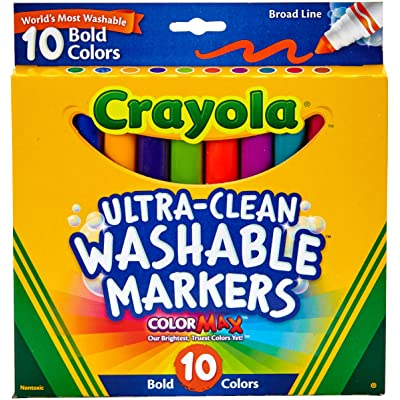 Crayola Ultra Clean Broad Line Markers, Bold Washable Markers, 10 Count: Toys & Games